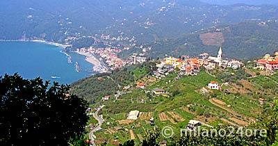 Blick über Lemeglio nach Moneglia